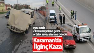 Karaman'da Aynı Anda İki Kaza Meydana Geldi
