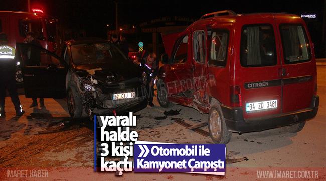 Otomobil İle Kamyonet Çarpıştı : 4 Yaralı