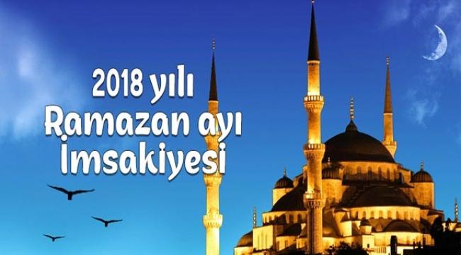2018 yılı Ramazan Ayı İmsakiyesi