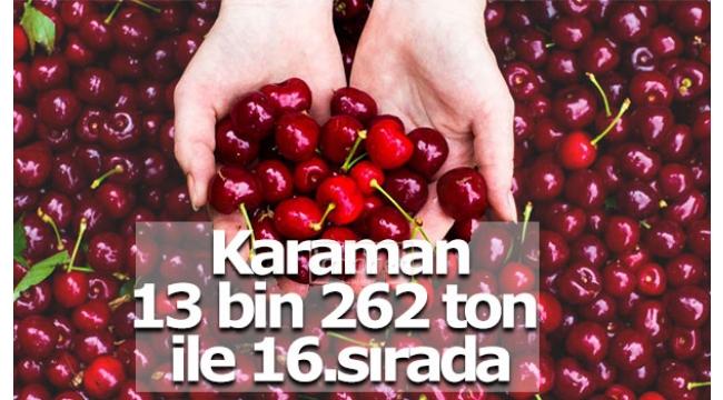 Karaman 13 bin 262 ton ile 16.sırada