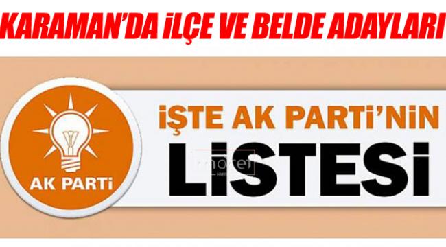 AK Partinin ilçe ve belde adayları belli oldu