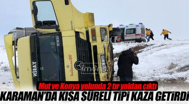 Karaman'da 2 tır devrildi