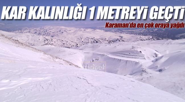 Karaman'da kar kalınlığı 1 metreyi geçti