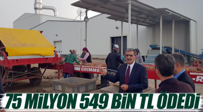 Patates için üreticiye 75 milyon 549 bin lira ödedi