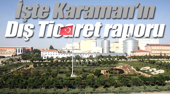 Karaman'ın dış ticaret raporu