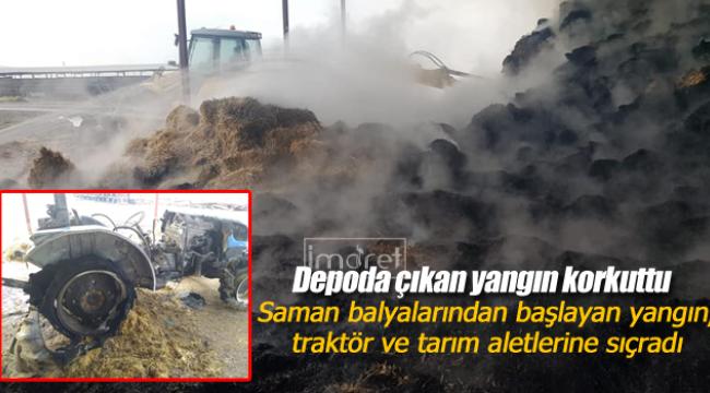 Traktör ve tarım aletleri yangının içinde kaldı