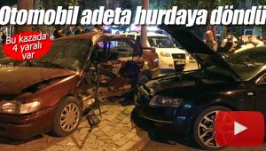 4 kişinin yaralandığı kazada otomobil hurdaya döndü