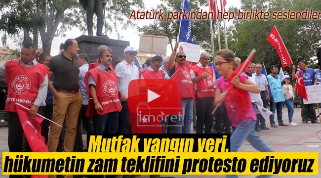 Mutfak yangın yeri hükumetin zam teklifini protesto ediyoruz