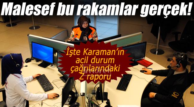 Karaman'ın acil çağrılardaki Z raporu