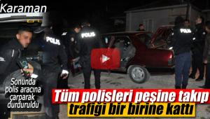 Tüm polisleri peşine taktı, birde polis aracına çarptı