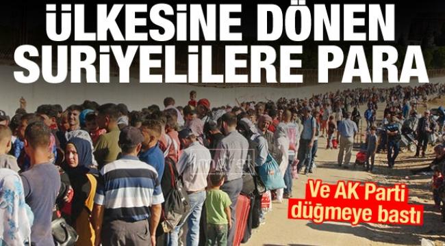 Ülkesine dönen Suriyelilere para verilecek