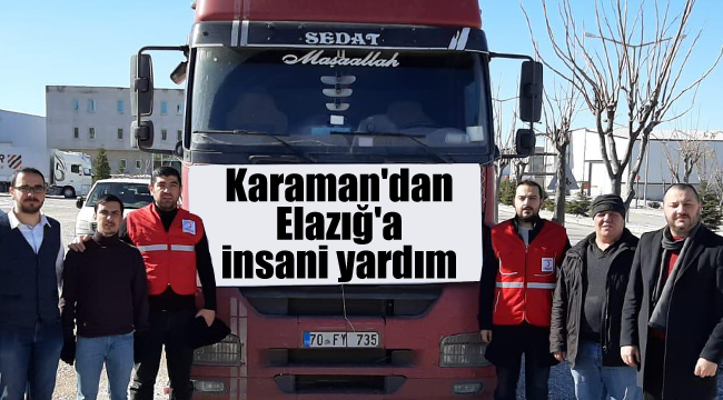 Karaman'dan Elazığ'a insani yardım