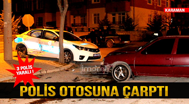 Polis Otosuna Çarptı 4 yaralaı