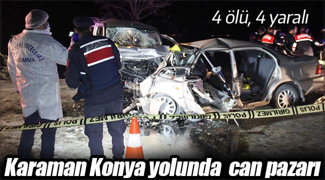 Karaman-Konya yolunda feci kaza