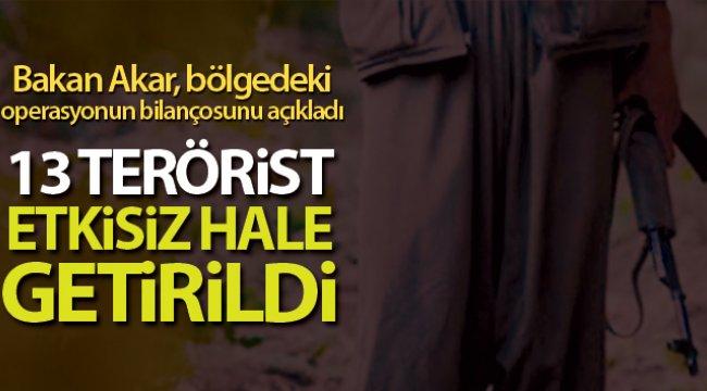 Haftanin, Zap, Hakurk ve Gara bölgelerinde 13 terörist etkisiz hale getirildi