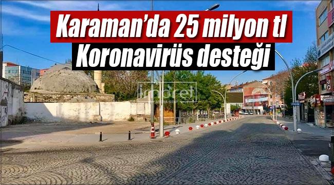 Karaman'a 25 milyonluk koronavirüs desteği