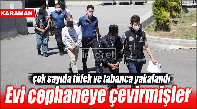 Karaman'da silah ticaretinden yakalanan 4 kişi adliyeye sevk edildi