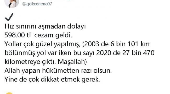 AK Partili Enç, yediği hız cezasıyla bölünmüş yollara gönderme yaptı