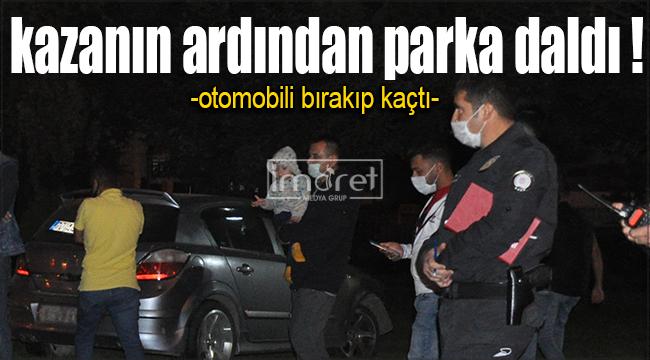 Karaman'da kazaya karışan otomobil parka daldı