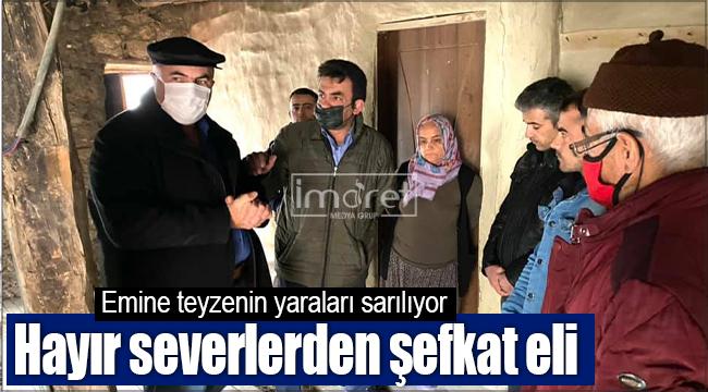 Karaman'da evi yanan aileye hayır severlerden yardım geldi
