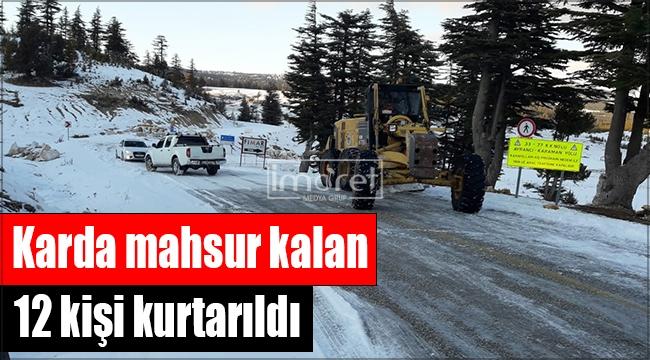 Ayrancı-Erdemli yolunda mahsur kalan 12 kişi kurtarıldı