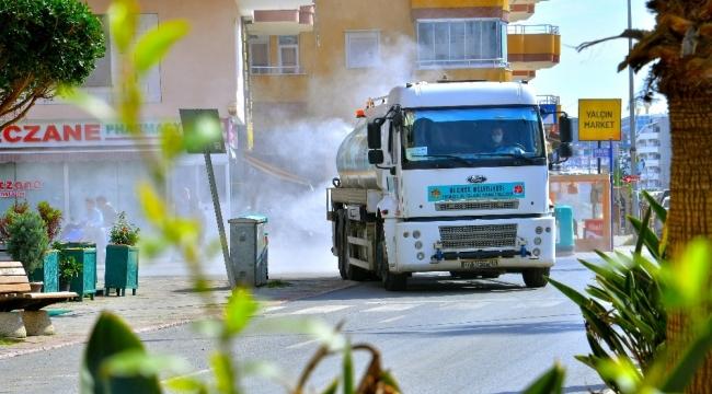 Alanya sokakları kısıtlama temizliği