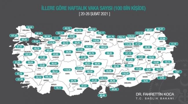 """Sağlık Bakanı Koca: """"İllerimizde 100.000 nüfusa düşen haftalık toplam vaka sayısının güncel haritasını ilan ettik"""""""
