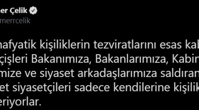 """AK Parti Sözcüsü Çelik: """"İçişleri Bakanımızı, kabinemizi ve partimizi bir suç örgütü üyesinin laflarıyla hedef alanları şiddetle kınıyoruz"""""""