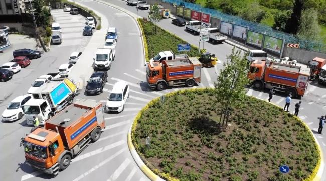 Ataşehir'in cadde ve sokaklarında bahar temizliği başladı