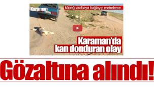 Karaman'da köpeği otomobile bağlayıp sürükleyen kişi gözaltında