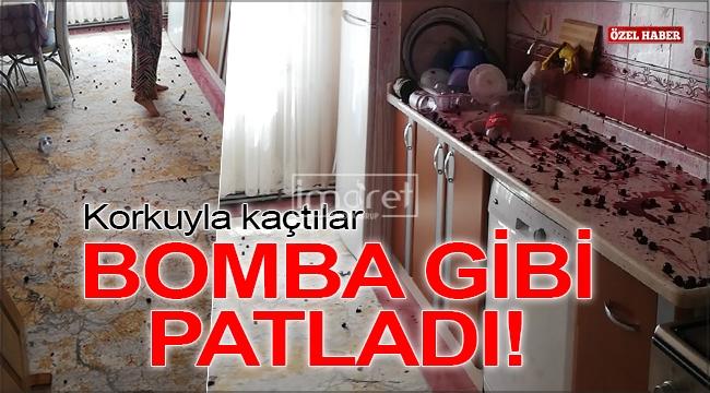 Karaman'da konserve şişesi bomba gibi patladı